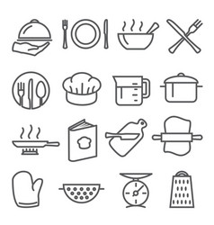 Cooking line icons set on white background vector