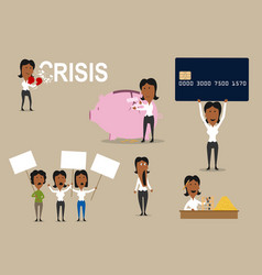 Crisis concept of money saving vector