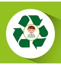 cute boy eco recycle icon vector image
