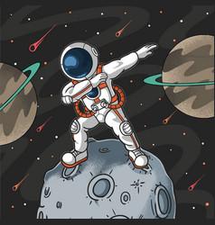 Cute dabbing astronaut celebration on the moon vector