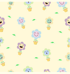 Cute pastel flower emoji seamless pattern vector