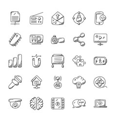 doodle icons set of technology theme vector image