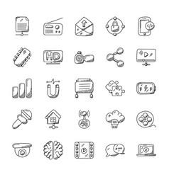 Doodle icons set technology theme vector