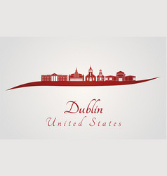 Dublin ca skyline in red vector