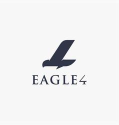 Eagle and 4 four monogram logo icon template vector