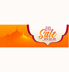 Eid sale banner in orange color vector