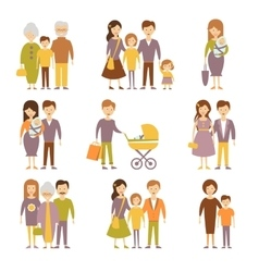 Family Figures Icons Set vector image