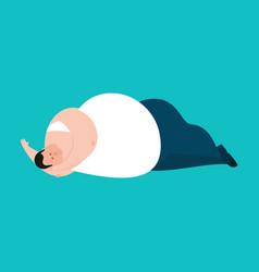 fat sleeping stout guy asleep emoji vector image