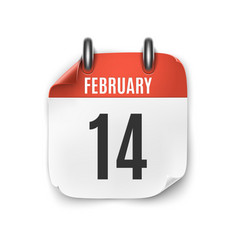 February 14 calendar icon isolated on white vector