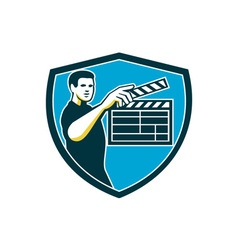 Film Crew Clapperboard Shield Retro vector