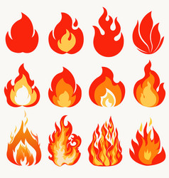 fire flame modern flames collection symbol icon vector image