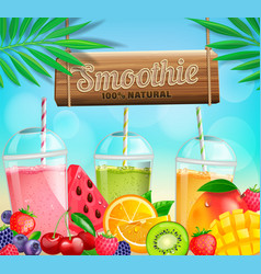 Fresh fruit and berry smoothies banner vector