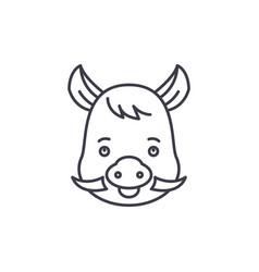 funny boar line icon concept funny boar vector image