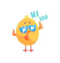 funny cartoon comic chicken with phrase hi bro vector image