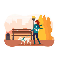 girl walking her dog in an autumn park vector image