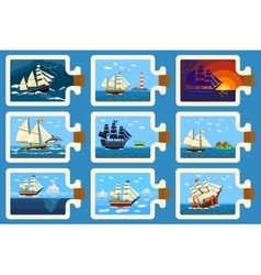 Glass bottle with ship inside miniature boat sea vector image