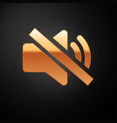Gold speaker mute icon isolated on black vector