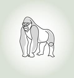 Gorilla in minimal line style vector image
