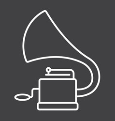 Gramophone line icon music and instrument vector