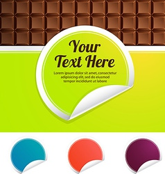 green label on a background of chocolate color vector image