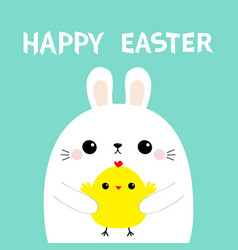happy easter bunny rabbit holding baby chicken vector image