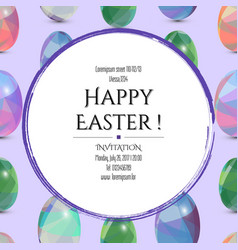happy easter invitation card 3d easter eggs with vector image