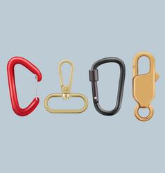 Hiking carabiner metal hook keys lock hardware vector