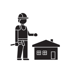 home construction worker black concept icon vector image
