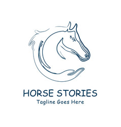 horse head and hand abstract design vector image