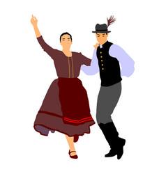 Hungarian folk dancers couple wedding folklore vector