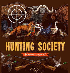 hunting open season poster animals and birds vector image