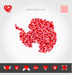 I love antarctica red hearts pattern map of vector