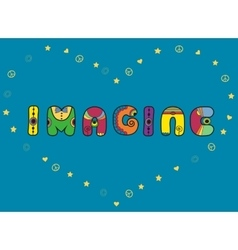 Imagine Hippie font Unusual shape vector