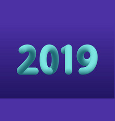 Inflated number blue figures of 2019 new year vector