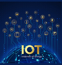 iot concept internet things global network vector image