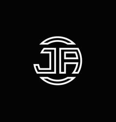 ja logo monogram with negative space circle vector image