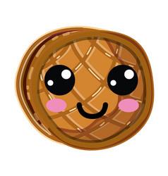 kawaii cute happy waffles with honey vector image
