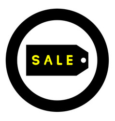 label sale the black color icon in circle or round vector image