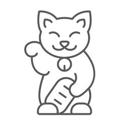Maneki neko thin line icon asian and animal vector