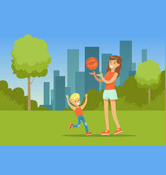 Mother and her son playing together with a ball in vector