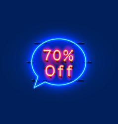 neon chat frame 70 off text banner night sign vector image
