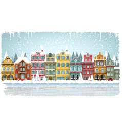 Old houses winter vector
