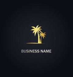 palm tree beach gold logo vector image