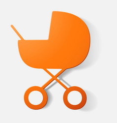 Paper clipped sticker buggy vector