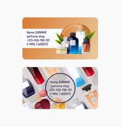 parfume shop set business cards vector image