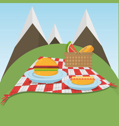 Picnic checkered blanket with food and mountains vector