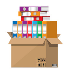 Pile documents file folders and cardboard box vector