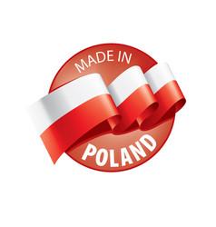 Poland flag on a white vector