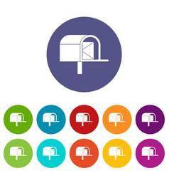 Post box icons set flat vector