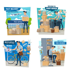 postman or mailman parcels delivery post office vector image